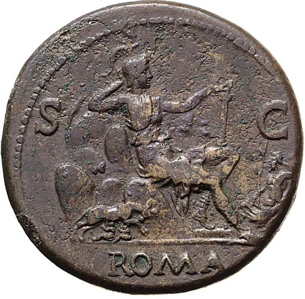 上图:主后71年铸造的罗马银币,图案中间是罗马女神(Roma)坐在七座山上,左边是狼在给孪生子喂奶,右边是台伯河。另一面是罗马皇帝维斯帕先(Vespasian,主后69-79年在位)的肖像。