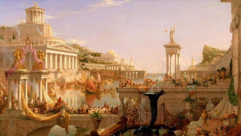 上图:描绘「罗马和平」(拉丁文:Pax Romana)的油画(Thomas Cole : The Consummation, The Course of the Empire,1836)。罗马和平,又译为罗马治世,是指罗马帝国前二百年比较兴盛的时期。主前30年,屋大维消灭埃及托勒密王朝,结束了罗马内战。统治整个地中海、黑海沿岸地区,法制相对公正严明,境内常年太平、治安良好,水陆交通通畅,使各族人民得以安居乐业、自由贸易,进入二百年长期繁荣的罗马治世时期。因此,逐渐有人建立庙宇,同时供奉罗马女神(Roma)和尤利乌斯·凯撒,渐渐演变为敬拜罗马女神和在位的凯撒,最终演变成凯撒崇拜的新宗教。罗马和平(Pax Romana)这个概念的影响如此之大,以致历史学家们用拉丁语创造了许多变体,如:不列颠和平(Pax Britannica)、美利坚和平(Pax Americana)、欧盟和平(Pax Europaea)、西班牙和平(Pax Hispanica)、蒙古和平(Pax Mongolica)、奥斯曼和平(Pax Ottomana)、伊斯兰和平(Pax Islamica)、中华和平(Pax Sinica)、苏维埃和平(Pax Sovietica)。这个概念被统称为「帝国和平 Pax Imperia)」,而实质都是「淫妇和平 Pax Meretrix」。