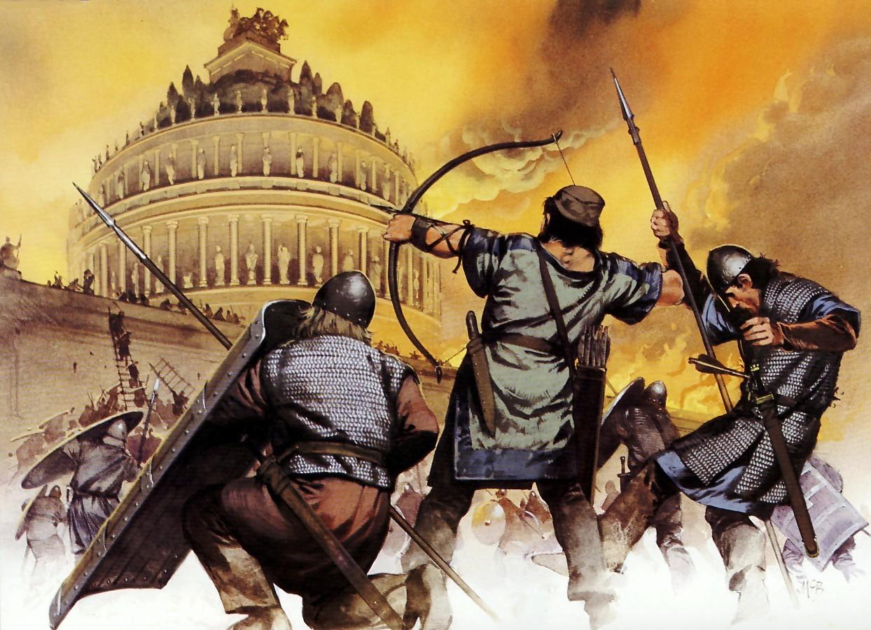 上图:主后537年罗马城的哥特之围(Siege of Rome)。主后410年以后,罗马先后遭到西哥特人、汪达尔人、勃艮第人的入侵和洗劫,主后537年,在东哥特人与东罗马皇帝查士丁尼一世的战争中,罗马几乎所有的排水管道被摧毁,罗马议会制度被废除,罗马人奢华的生活彻底结束了。