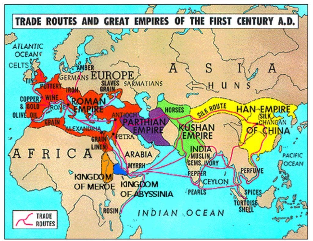 上图:第一世纪的欧、亚、非大陆国家和贸易路线。当时的欧、亚、非大陆主要由四大帝国统治,从西向东分别是:罗马帝国(Roman Empire,人口约4350万)、帕提亚帝国(Parthian Empire,人口约840万,是罗马帝国唯一强敌)、贵霜帝国(Kushan Empire,人口约1020万)、东汉帝国(Han Empire,人口约5000万)。