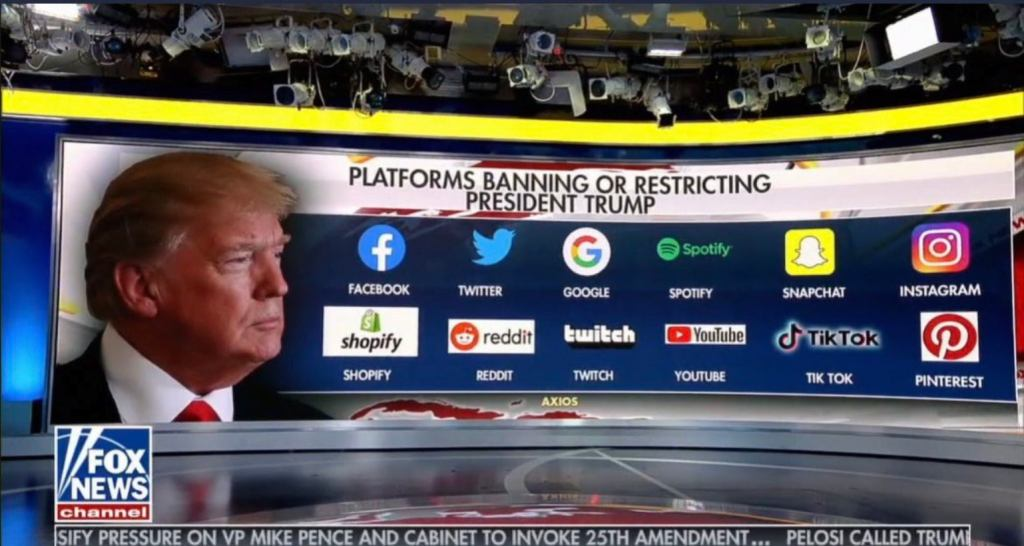 上图:2021年1月9日美国福克斯新闻频道的电视画面,列出了当天封杀或限制川普总统的社交媒体和网络平台。当川普的支持者转向社交媒体Parler以后,Google和Apple干脆将Parler App下架,Amazon也停止了Parler的亚马逊网络服务。在讲究法制和宪政民主的国家里,未经定罪的现任总统被全网封杀,这是史无前例的;在讲究多元化和言论自由的国家里,所有的主流媒体和网络平台都「同心合意将自己的能力、权柄」(启17:13)交给某种势力,这也是史无前例的。
