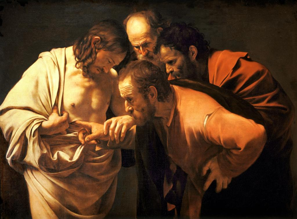 上图:意大利巴洛克画派卡拉瓦乔(Caravaggio,1571-1610年)创作的油画《圣多马的多疑 The Incredulity of Saint Thomas》,描绘复活的基督对多马说:「伸过你的指头来,摸我的手;伸出你的手来,探入我的肋旁。不要疑惑,总要信!」(约二十27-29)。在这幅画中,复活基督的头上没有光环,强调了祂的灵性身体是真实的。这身体有骨有肉,可以被摸到(路二十四39)、可以吃饭(路二十四41-42),但也可以忽然消失(路二十四31)、又忽然出现(路二十四36)。基督是复活之人初熟的果子(林前十五20),因此,复活的信徒在新天新地里也将带着类似的灵性身体,因为「血肉之体不能承受神的国,必朽坏的不能承受不朽坏的」(林前十五50)。但这并不是说需要医治就是「必朽坏的」,而「不必朽坏的」就不再需要生命树。相反,「不朽坏」意味着我们与生命的源头没有隔阂,永远都能得着生命树的供应和医治。