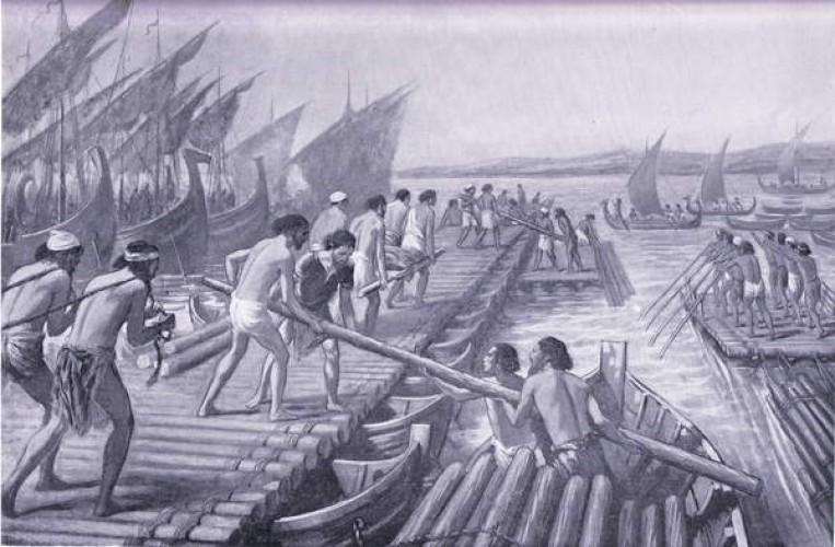 上图:主前480年,波斯王薛西斯一世第二次入侵希腊,腓尼基人为波斯军队建造渡海浮桥。主前539年波斯王古列征服巴比伦以后,腓尼基人务实地向波斯臣服,被划分为四个藩属国:西顿、推罗、阿瓦德(Arwad)和比布鲁斯(Byblos),当地的腓尼基王被允许自治、世袭和铸币。而腓尼基人也不负所望地为波斯帝国作出了重要贡献,在希波战争期间为波斯海军提供了大部分船只和水手,并且修建了薛西斯运河(Xerxes Canal)和跨海浮桥,帮助波斯陆军跨越海峡进入希腊大陆。