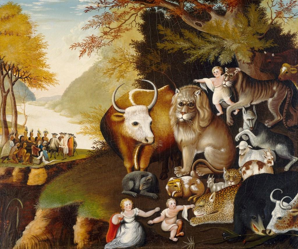 上图:美国贵格会爱德华·希克斯(Edward Hicks,1780-1849年)绘制的62个版本《和平国度 The Peaceable Kingdom 》油画之一。