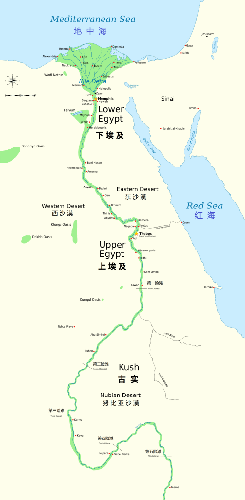 上图:尼罗河从南向北流经古实、上埃及、下埃及,将沙漠分开,并在地中海的入海口形成一个巨大的三角洲,所以说「他们的地有江河分开」(赛十八2)。几乎所有的古埃及遗址均位于尼罗河畔。从喀土穆(Khartoum)到阿斯旺(Aswan)之间的尼罗河有六大险滩,河水又浅又急,石头河床露出水面,在洪水季节之外无法航行。