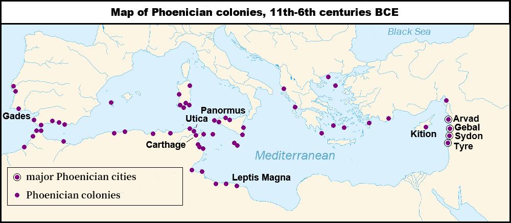 上图:主前11-6世纪腓尼基的主要城市和殖民地。腓尼基并不是一个政治意义上的国家,而是由语言和文化相同的独立城邦组成,彼此之间和平竞争。为了促进航海贸易,腓尼基人在地中海沿岸建立了许多殖民地和商业据点,覆盖了塞浦路斯、克里特、西西里、马耳他、撒丁、科西嘉、西班牙、南欧和北非。腓尼基人口不多,所以对开疆拓土没有兴趣,殖民地的居民很少超过一千人,只有迦太基和地中海西部的一些附近定居点比较大。腓尼基殖民地的自治程度很高,通常只是以宗教献礼的方式向他们的母城致敬。