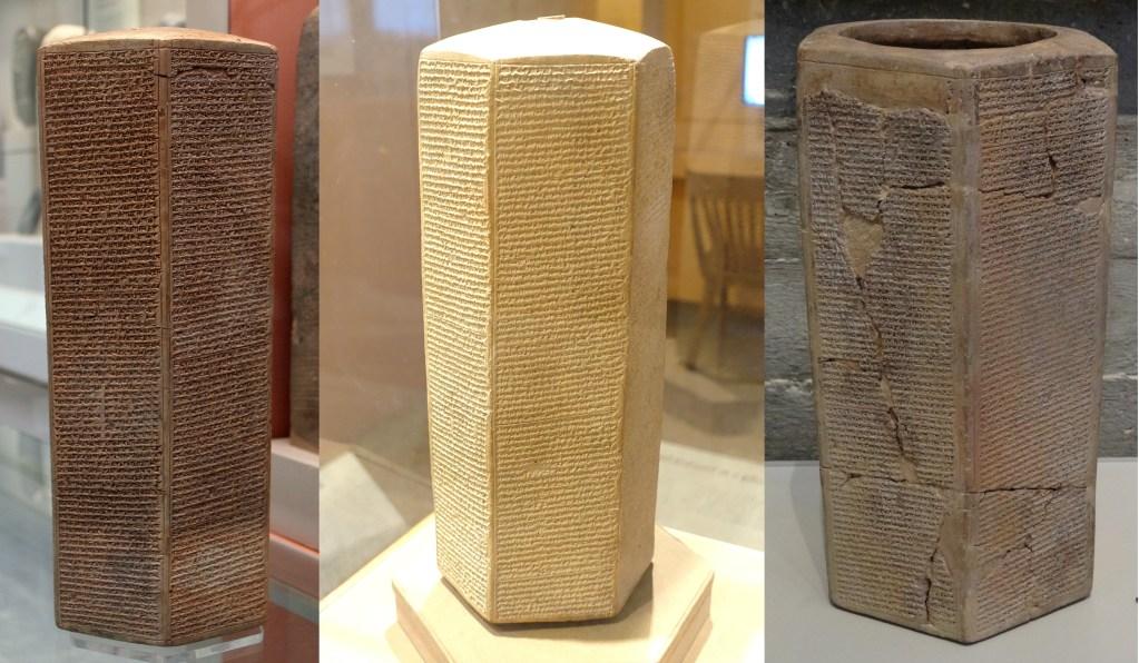 上图:西拿基立年鉴(Sennacherib's Annals)是三个主前691-689年的完整粘土棱柱,上面都刻有相同的文字,分别收藏于大英博物馆((The Taylor Prism)、芝加哥东方博物馆(Oriental Institute Prism)和以色列博物馆(Jerusalem Prism)。这份年鉴记录了西拿基立于主前704-681年的军事行动,宣称从犹大掳走了二十万零一百五十人,攻陷了四十六所坚固城及无数的小村镇,并把希西家王如笼中之鸟关在耶路撒冷,把所占领的城镇交给了亚实突、以革伦和迦萨三个投靠亚述的非利士王。