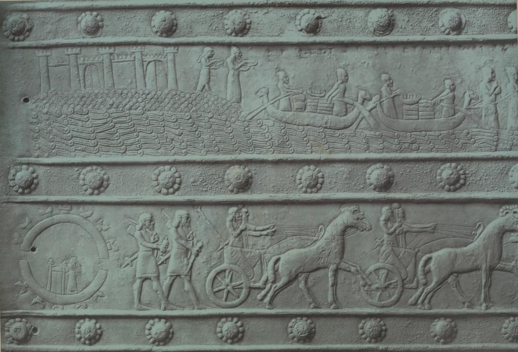 上图:亚述巴拉瓦特门(Balawat Gates)上的青铜装饰,描绘推罗和西顿的船只装载贡物献给撒缦以色二世(Shalmaneser II,主前859-824年在位)。
