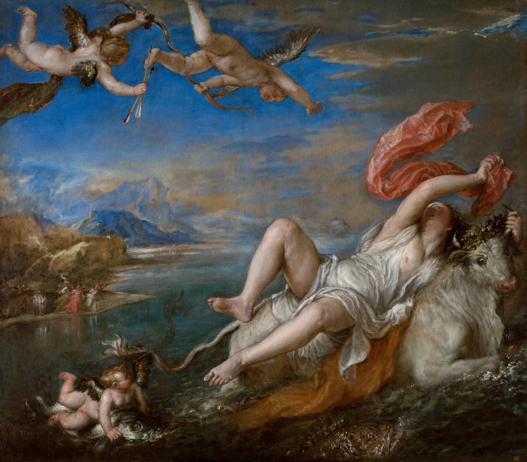 上图:油画《欧罗巴被掳 The Rape of Europa》(提香Titian,作于1560-1562年)。在希腊神话中,宙斯看中了推罗王的女儿欧罗巴,遂化身为一只雪白的公牛诱奸欧罗巴,并把欧罗巴带到克里特岛。欧罗巴和宙斯生了三个儿子,后来成为克里特岛的统治者。推罗王叫儿子们出去寻找女儿,没有找到就不要回来,结果儿子们都滞留他乡,其中卡德摩斯(Cadmus)把腓尼基字母带到了希腊。希腊人把爱琴海以西的大陆称为「欧罗巴」,成为欧洲名称的起源。孕育文明的欧罗巴和传播腓尼基字母的卡德摩斯都来自推罗,代表推罗在早期文明西传到爱琴海和欧洲的过程中所扮演的重要角色。希腊人在黑暗时期以后,重新学会了腓尼基字母,并加上母音,成为后来欧洲各类字母之祖。腓尼基的商船所带来的埃及笔墨纸张,也促进了希腊文学的萌芽。