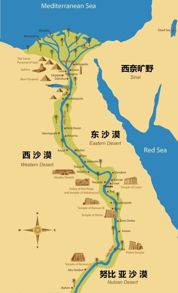 上图:尼罗河下游从沙漠中间穿过,两岸灌溉渠的终点,就是沙漠的起点。尼罗河丰富的水资源,使埃及成为罗马帝国的粮仓,也使埃及的生存和繁荣完全倚赖尼罗河。
