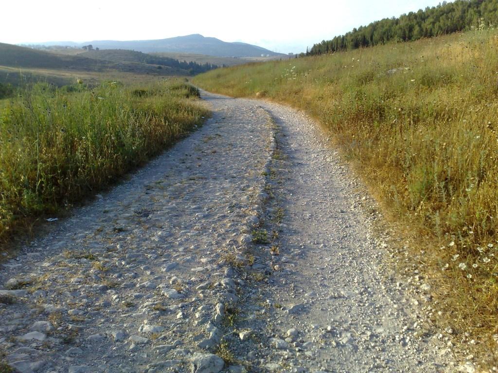 上图:罗马帝国修筑的通往耶路撒冷的道路,沿途有许多路碑。