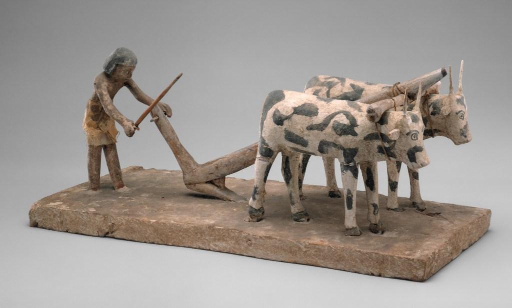 上图:古埃及第十二王朝时期(主前1981-1885年)的木雕,描绘一个耕地的农夫,牛背上负着轭,现藏于大都会博物馆。「轭」指加在牛后颈上的横木,用来驱使牲畜,比喻以色列人在埃及为奴时背负重担,有如负轭的牛。