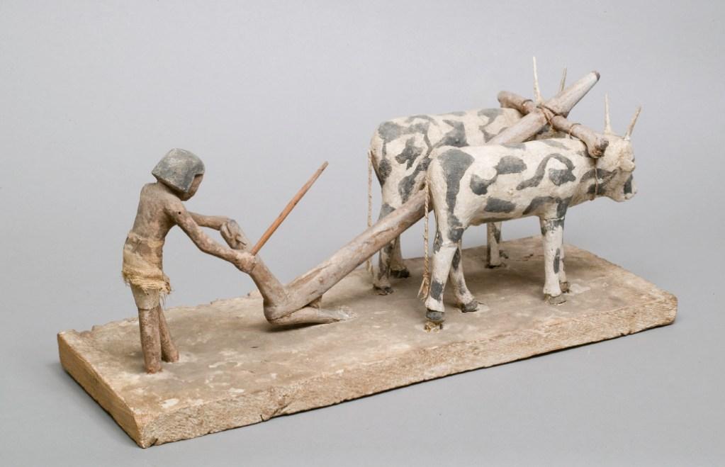 上图:古埃及第十二王朝时期(主前1981-1885年)的木雕,描绘一个耕地的农夫,牛背上负着轭,现藏于大都会博物馆。「轭」指加在牛后颈上的横木,用来驱使牲畜。「巴比伦王的轭」(耶二十八2)比喻巴比伦的统治。