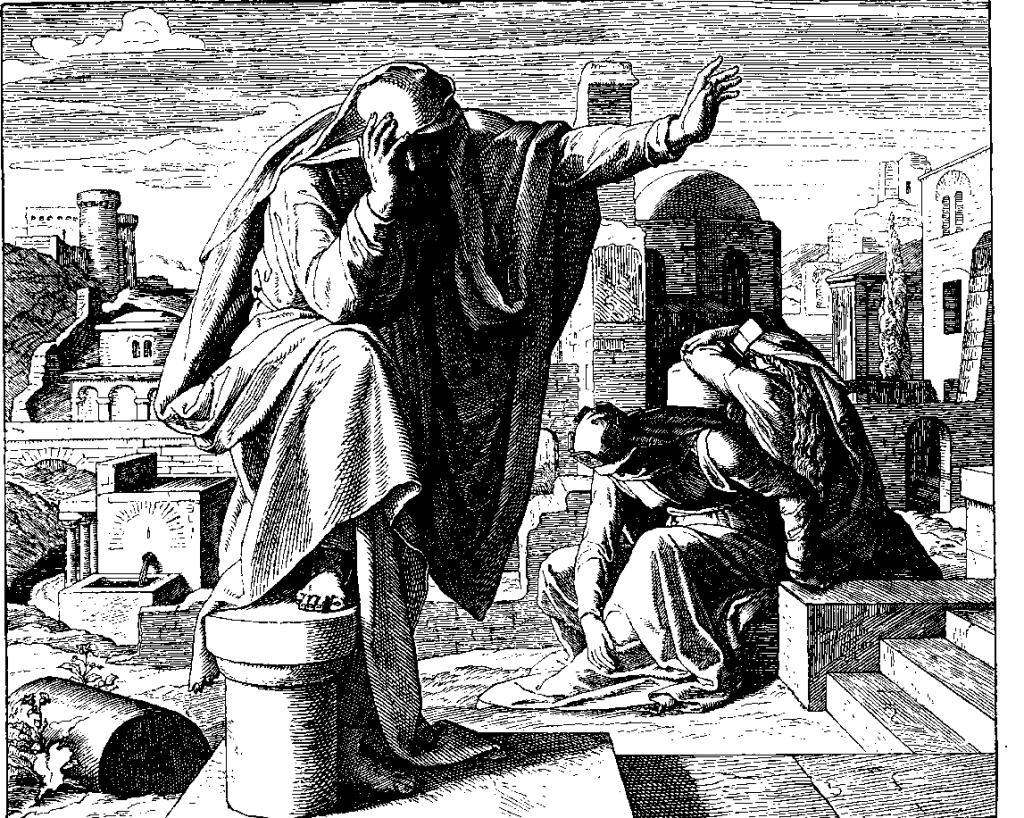 上图:德国画家卡洛斯菲尔德 (Julius Schnorr von Carolsfeld)于1851-1860年之间创作的《耶利米哀歌》木刻。