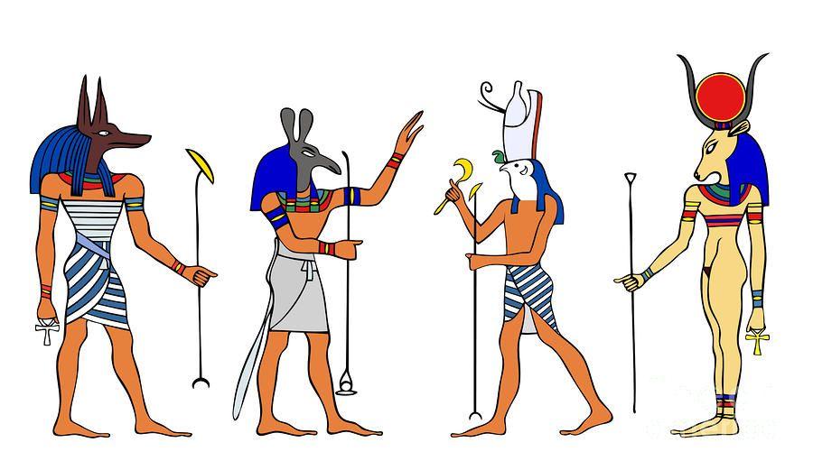 上图:几个带着动物头的古埃及神祗。古埃及有名字的神明就有两千多个,许多神明都带着人的身体和动物的头,有些神明本身就是动物。
