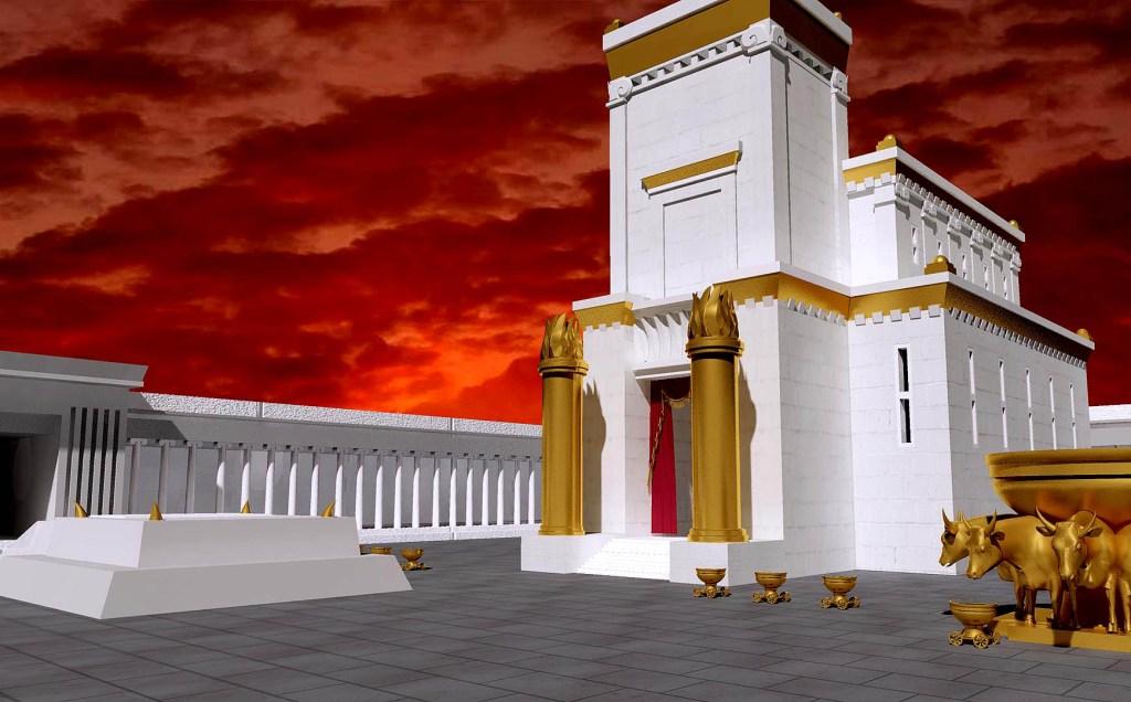 上图:所罗门建造的圣殿示意图。第一圣殿始建于主前967年(王上六1),七年后建成(王上六38),二十年后献殿(王上九10),主前586年被毁。