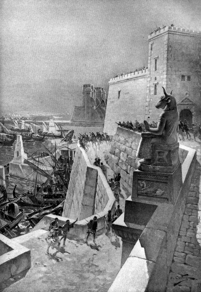 上图:主前332年,亚历山大大帝的海军在围攻推罗。法国画家安德烈·卡斯泰涅(André Castaigne)绘于1888-89年。