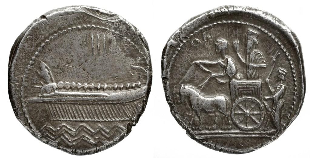 上图:主前四世纪中叶西顿王田尼斯(Tennes,主前351-346年在位)的铸币,左边是腓尼基的的五十桨战船(Penteconter),右边是西顿王跟在波斯王的马车后面。五十桨战船是长而狭窄的龙骨船,由五十名桨手划桨,船的每侧各有二十五人,中部有桅杆和帆。